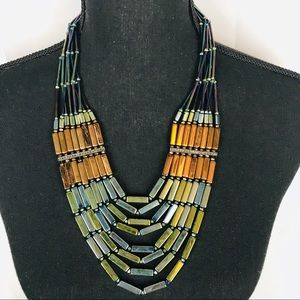 Oil Slick Beaded Statement Necklace